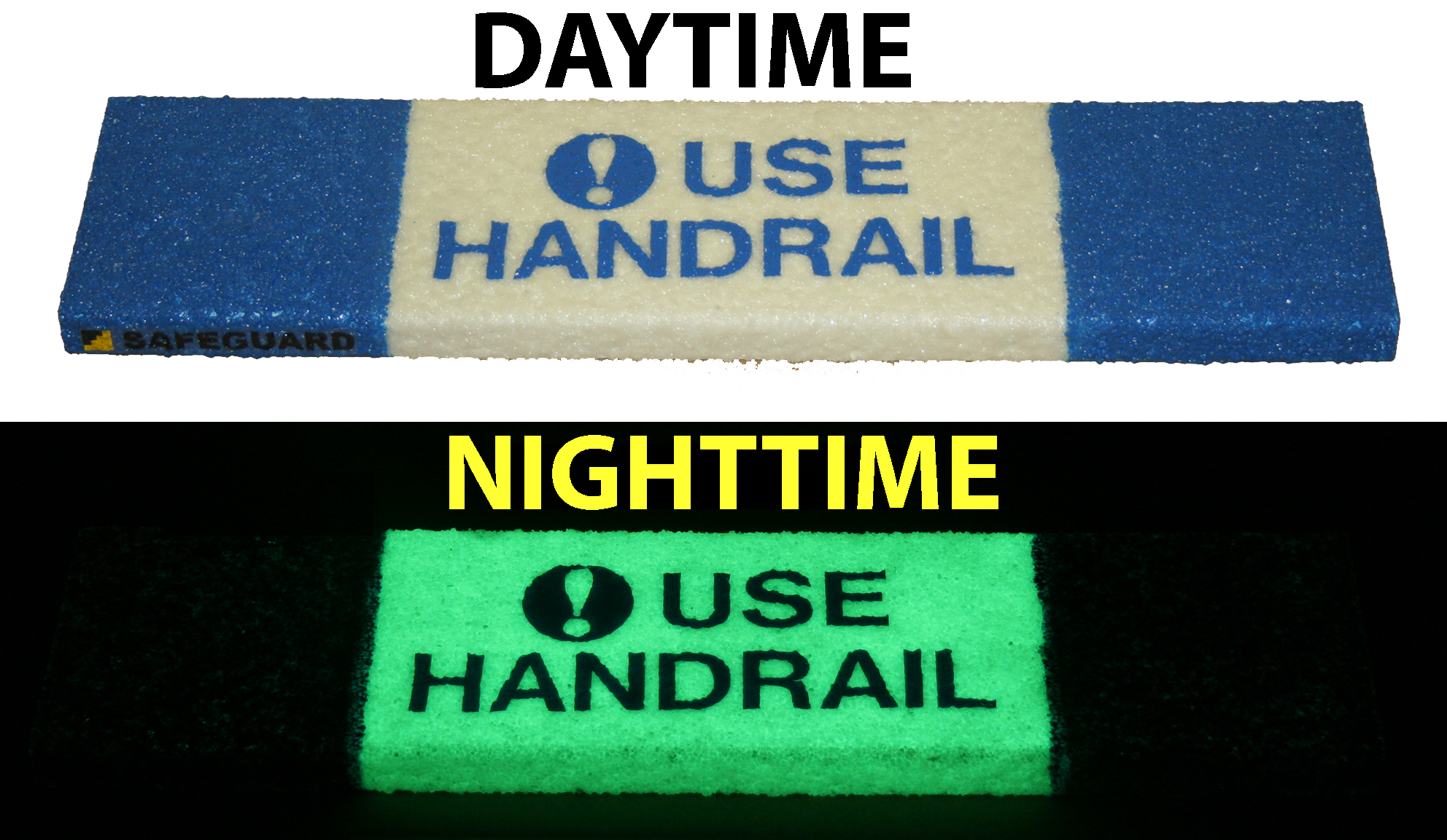 Image of Safeguard anti-slip step cover with safety messaging, use the trailing hand technique, embedded into surface.