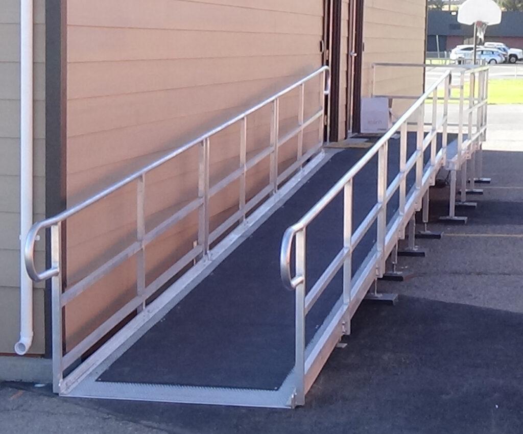 ADA ramp with anti-slip cover