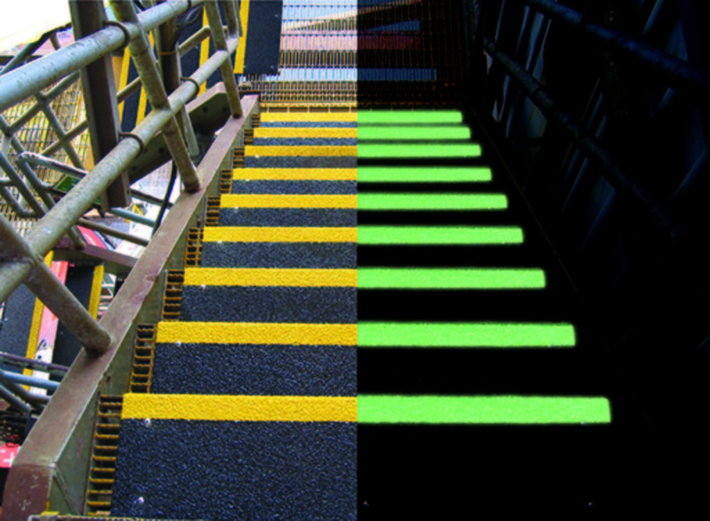 Day and night view of two-tone black with yellow HiGlo-Traction® (glow-in-the-dark) no-slip step covers